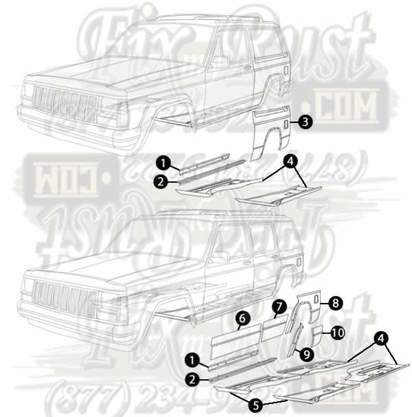 1984-2001 Cherokee (XJ) - Rust Repair Panels