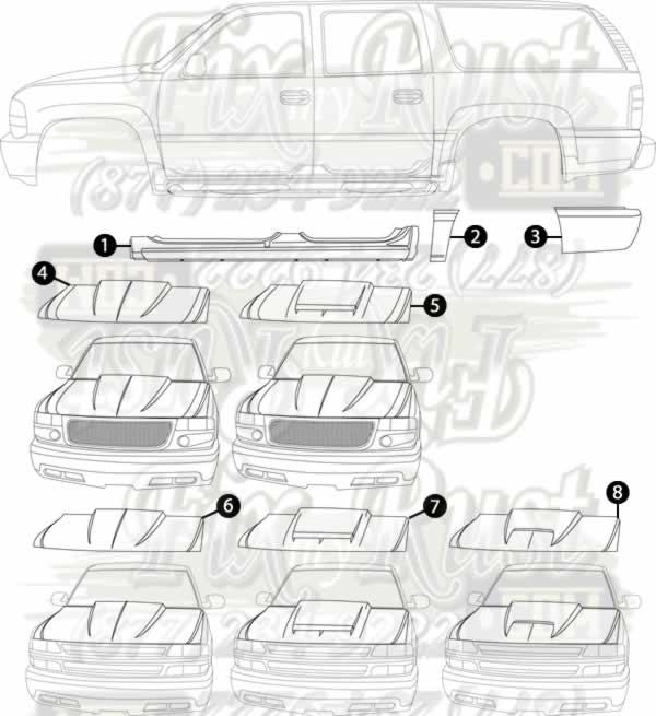 2000-2006 Chevy Suburban - Rust Repair Panels