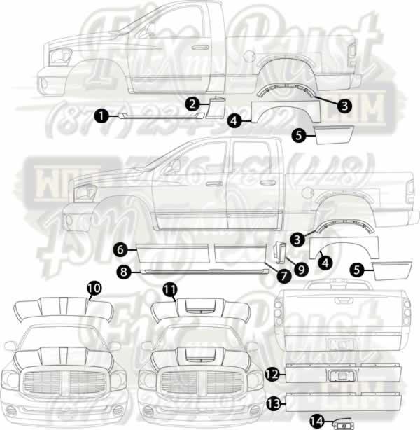 02 08 Dodge Pickup Rust Repair Panels