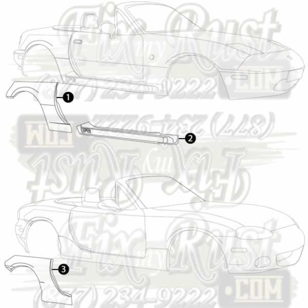 1989 1998 Miata Rust Repair Panels